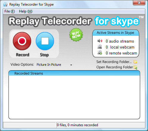 Replay Telecorder for Skype Main UI